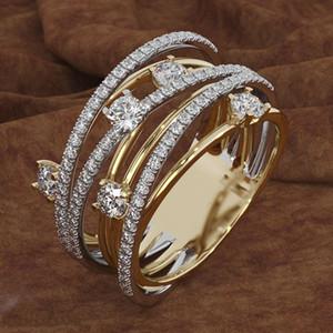 Fashion Express vende nuovi anelli di micro-zircone Flash Diamond con anelli di barretta a colori incrociati di modelli femminili creativi europei e americani Si