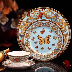 Venta al por mayor Juego de vajilla de porcelana de hueso de lujo 4 piezas Juego de vajilla de cerámica Platos y platos Tazas y platillos Kit Regalos creativos