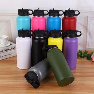 Hydro vuoto bottiglia di acqua di sport 32 once 40 once in acciaio inossidabile 304 Wide Mouth Grande capacità Viaggi boccetta bottiglia d'acqua con paglia coperchi DHL