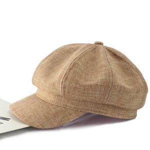 Gros- octogonal Hat Femme Coton réglable et lin petit parfum vent Beret avec Brim mince Section Peintre Chapeau Femme