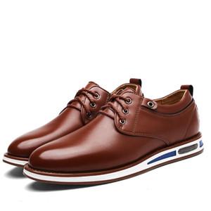 Nueva primavera para hombre Oxford Zapatos de negocios Suave informal Transpirable Inteligente Casual hombres Pisos Oficina de negocios Zapatos de cuero de vestir