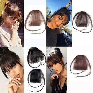 Kadınlar için Fringe Saç Uzantıları Doğal Renk Hava Bangs İnsan Saç One Piece Clip% 100 Gerçek Klip