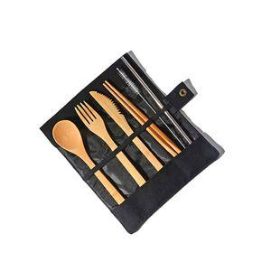 7pcs portátil Faqueiro Bamboo talheres Set Faca, Garfo, Colher Straw Brushes Outdoor Viagem Dinnerware Set Com saco de pano / set LJJA3341-2