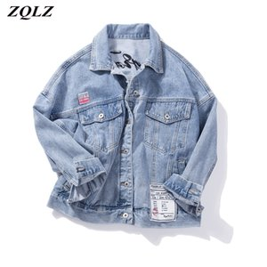 ZQLZ más el tamaño 5XL dril de algodón de la chaqueta de las mujeres 2020 nueva capa de bordado Carta Streetwear Jeans Corto Outwear otoño Jean Mujer