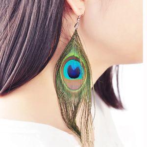 Kadınlar Hediye Parti Takı için Bohemian Retro Etnik Rüzgar Peacock Feather Uzun Püskül Küpe