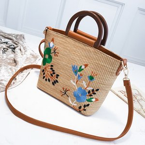 New straw weaving printing zipper beach women designer handbags lady fashion casual knitting shoulder messenger crossbody bags female totes