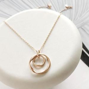 jóias S925 prata colar de ouro 18K círculos duplo pingente de colar graciosas para as mulheres