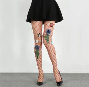 Womens Flor criativa Sexy Mulher Socks Fishnet Magro Lingerie Rete Garter Mulheres Moda Sock New Style