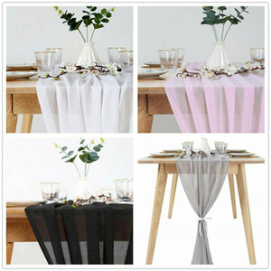 Weiß Chiffon Tischläufer Tischdecke Abdeckung Stuhl-Schärpe-Partei-Dekorationen