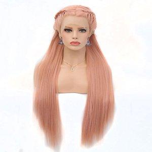Sin cola sintética del frente del cordón pelucas Rosa Rubio Color recto sedoso de la fibra sintética resistente al calor peluca lacefront Para las mujeres blancas