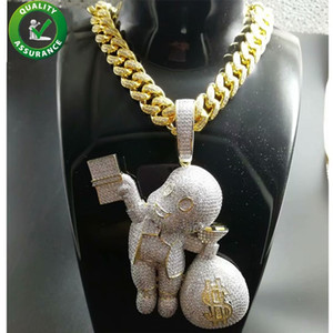 Iced Out Anhänger Hip Hop Bling Ketten Schmuck Männer Gold Halskette Luxus Designer Diamant Cuban Link Cartoon Mario Geld Tasche Rapper DJ Charms