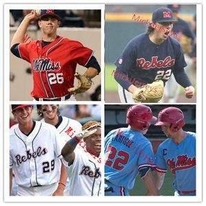 Los hombres de encargo NCAA Ole Miss Rebels Baseball Jersey 14 Cole Zabowski 8 Justin Bench 25 Tim Elko 34 Tyler Myers Ole Miss Rebels Jersey S-3XL