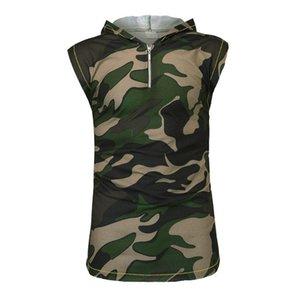 Hommes Camouflage impression Gilets Vestes manches Imprimer Patchwork Vêtements régulier Contrast Casual Couleur Homme Hauts Pulls à capuche