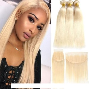 Factory Straight Brazilian Human Hair 613 Bundles With Frontal Peruvian 3 Bundles With Closure Remy Human Hair Extensions