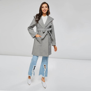 Kinikiss 2018 novas mulheres casaco cinza inverno com capuz jaqueta sólida elegante venda quente capa moda casaco outono manga longa