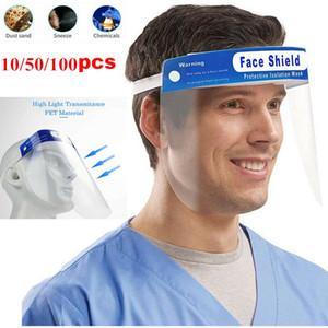 EU Stock Protective Escudo Face Face Shields máscara máscaras Boca de Proteção Anti-gotas Anti nevoeiro-Shield face à prova de poeira de plástico transparente
