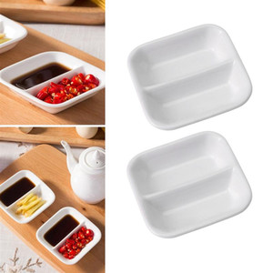 White Ceramic Sauce Dishes 2-Compartment Appetizer Serving Tray Divided Snack Dishes for Spice Dish Soy Sauce