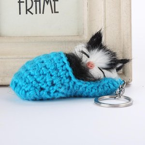 DHLFREE 50PCS 7Colors Sleeping Cat Pompom Keychains Women Girls Handmade Woven Shoes Faux Rabbit Fur Kitten Key Chains Fluffy Bag Key