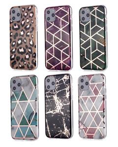 Leopard marbre pour iPhone 12 11 Pro XS MAX XR X 8 7 6 5 SE Laser géométrique de luxe hybride souple TPU IMD placage Roche Téléphone Couverture Chromé