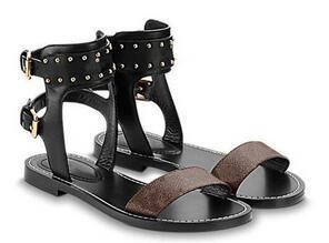 Sandalias de cuero estampadas para mujer de la marca 2019 suela de cuero de diseño lienzo plano perfecto sandalias de tres colores tamaño 35-41