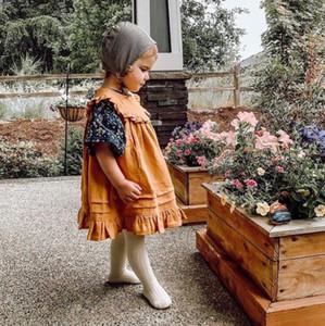INS Summerl menina Miúdos roupa vestido sem mangas gola redonda cor sólida plissadas design Vestidos elegante