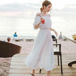 Bohemian long women's summer white Bra Beach skirt seaside holiday beach skirt bra shoulder-length Super fairy dress