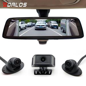 """SZDALOS Mirror Dash Cam 10 """"Pantalla táctil completa Smart Mirror Camera 4 Lens drive recorder Disparador de dirección lateral punto ciego coche visible"""
