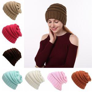 Womn gorro de punto para niñas lindas gorros de color sólido sombrero al aire libre invierno femenino casual camping gorra de esquí TTA1559