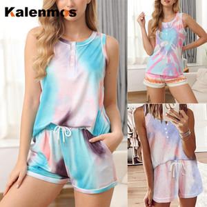 KALENMOS Dois conjuntos de peças Mulheres Homewear Casual T-shirt do motociclista Shorts Esportes Fatos Pijamas Pijamas Salão Tie Dye Imprimir