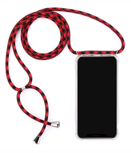 New Necklace Crossbody Phone Case Transparent Shockproof TPU Case with Cord Rope Strap for iPhone 12 Pro Max