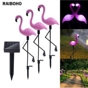 3pcsPack Solargartenlicht Flamingo Stake Licht Laterne Solarbetriebene Pathway Beleuchtung im Freien wasserdichten Garten dekorative Lawn Yard-Lampe