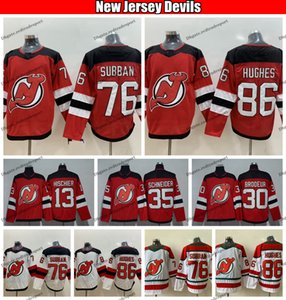 2019 Jack Hughes New Jersey Devils Hokey Formaları 86 Jack Hughes 76 PK Subban 35 Cory Schneider 13 Nico Hischier 30 Martin Brodeur Gömlek