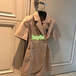 high end women girls shirt dress short sleeve lapel neck waist down irregular button tight dress 2020 fashion womens suit dresses