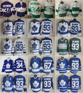 Best 93 Doug Gilmour 34 Auston Matthews Maglie Uomo Toronto Maple 64 Stanleycup Leafs 67 Stanley Cup Hockey Vintage Classic