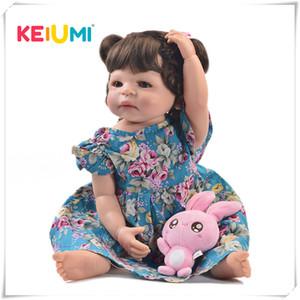 KEIUMI 22 pouces Mode fille poupée reborn Vivant Full Body réaliste en silicone Princesse Baby Doll pour les enfants de Noël Cadeaux de bricolage Hair Style T200209