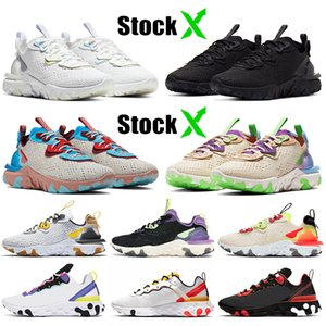 nike react vision stock x nike epic react element 55 87 Atacado Mens Mulheres Tênis de Corrida Triplo Branco Preto Photon Dust Athletic Trainers Sneakers