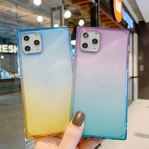 Shockproof Square Gradient Color Soft Silicone Phone Case For iPhone 11 Pro Max XS Max XR 7 8 Plus SE2 X TPU Clear Back Cover