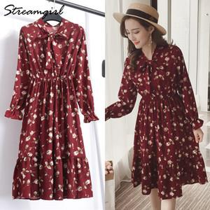 Streamgirl Çiçek Baskı Elbise Uzun Kollu Bayan Elbiseler Vintage Örgün Elbise Kadınlar Zarif Baskı Şifon Elbiseler Sarı