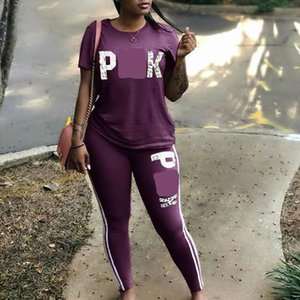 2 Piece Set Woman Tracksuit Casual Letter Print Sexy Sweat Suits Short Sleeve Tee Shirt Top Skinny Pants Plus Size S-3XL