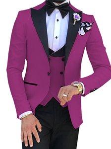 Nuovi One Button Groomsmen picco risvolto nozze smoking dello sposo degli uomini vestiti di cerimonia nuziale / promenade / Cena Best Man Blazer (Jacket + Tie + Vest + Pants) 990