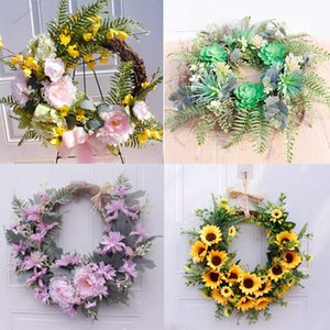 40cm Artificial Easter Flower Wreath Ring Wedding Party Deco Supplies DIY Floral Crafts Home Hanging Ornament A