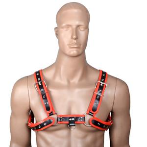 남자의 섹시한 란제리 BDSM 본디지 PU 가죽 벨트 가슴 Harness Clubwear 나이트 브라 의상 게이 성인 이국적인 탱크 C19010501