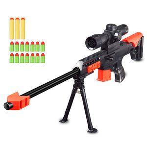 상자 선물 어린이 야외 게임 총 장난감 부드러운 총알 저격 소총 에어건 에어 블래스터 군사 플라스틱 모델 키트