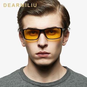 DEARMILIU Night Vision Glasses Aluminum Magnesium Men's Sunglasses Polarized Square Mirror Male Eyewear Accessories For Men