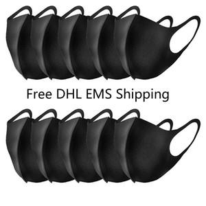 DHL EL EMS entrega rápida libre del ciclo de la Salud Anti-Polvo de la boca de algodón de la mascarilla del respirador Hombres Mujeres lavable y reutilizable máscaras sólidas con estilo