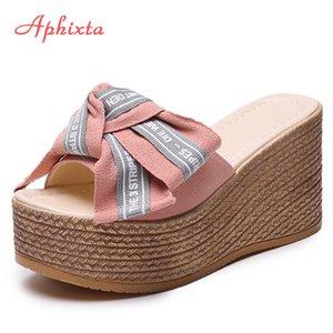 Sandálias atacado Platform Wedge Chinelos mulheres fora Shoes Clog Riband Butterfly-nó meninas Flip Flop Slides Pantoufle Femme