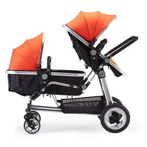 2019 New Upgrade Multifunction Multi-range Adjustable Twin Baby Stroller Double Seat Carts Newborn Basket 0-3Y