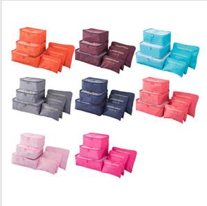 6 pçs / set organizador de viagens sacos de armazenamento portátil organizador de bagagem roupas Tidy bolsa mala embalagem de roupa de lavanderia caixa de armazenamento D132