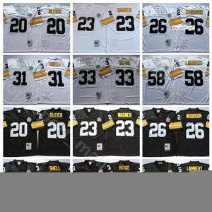 NCAA Football 58 Jack Lambert jerseys 31 Donnie Shell Rod Woodson 26 23 33 Mike Wagner Merril Hoge 20 Rocky Bleier Hombre Blanco Negro Vintage