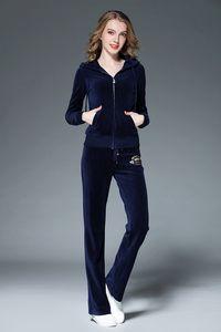 Suits Primavera Mulheres Sporting Cinza Preto Azul Rosa Magro Zipper Pleuche Womens Casual Collar Fatos capuz Sportswear terno
